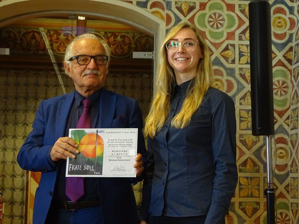 Giuseppe Maria Jonghi Lavarini, membro del CdA della Fondazione Frate Sole premia arch. Kateryna Rybenchuck – MENZIONE DI MERITO