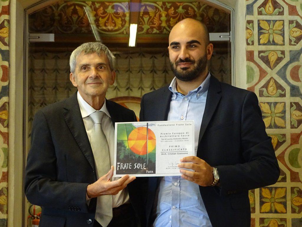 Luigi Leoni, Presidente della Fondazione Frate Sole premia arch. Cristian Giannone – PRIMO PREMIO